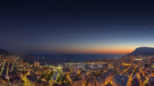Monaco Yacht Show 2014 Sunset over the Principality of Monaco by