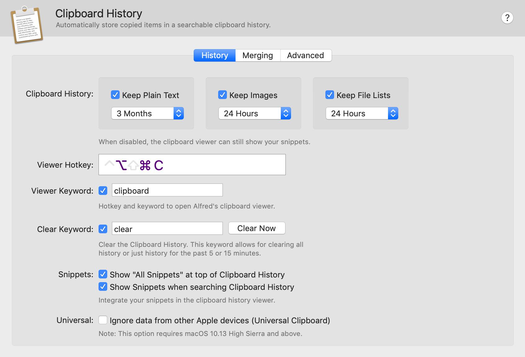 Configurações do clipboard history